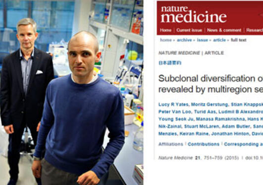 Three of the researchers in the group, and a print of the article in Nature Medicine.