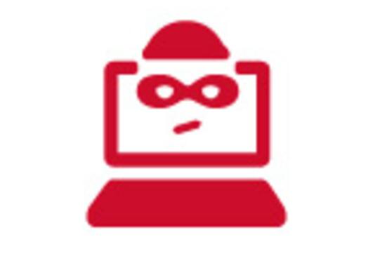 illustrasjon som viser en datamaskin med et maskert ansikt