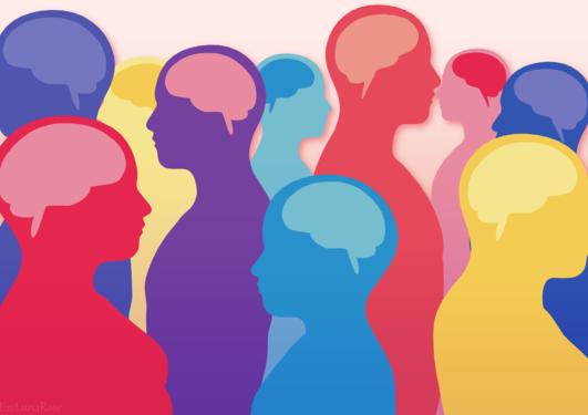 Illustrasjon av mennesker i ulike farger med synlige hjerner