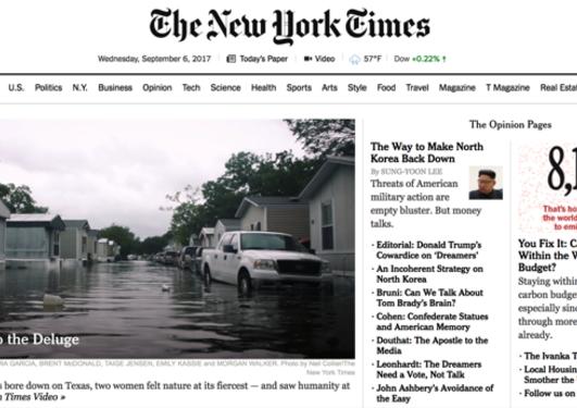 Skjerm av New York Times