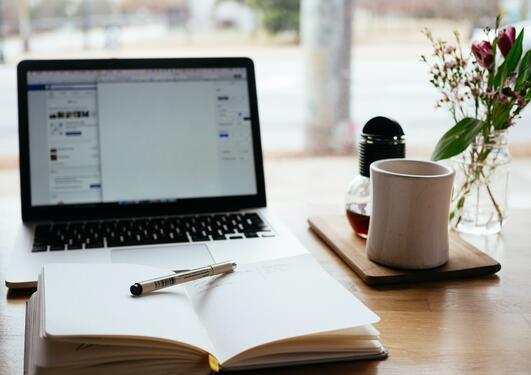 Photo of laptop on desk
