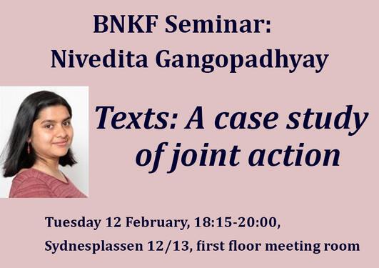 Bilder av Nivedita og tittel, tid og sted for seminaret