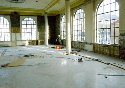 Construction work during refurbishment at the University Museum of Bergen in December 2013.