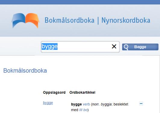 Bildet av nettstedet til ordbøkene