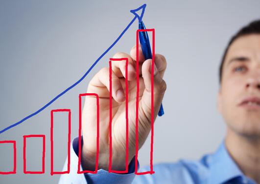 Graf som viser økning