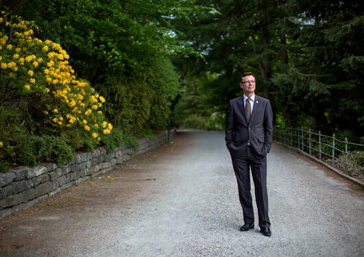 Rector Dag Rune Olsen of the University of Bergen photographed on university campus.