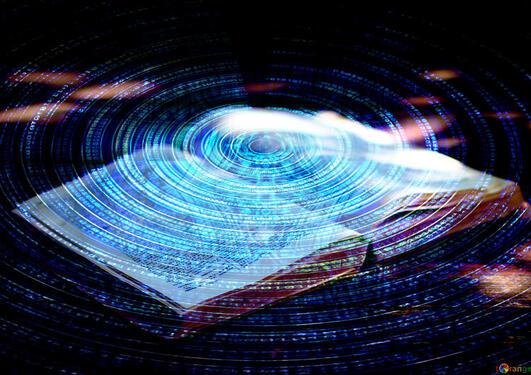 """Bok belyst av blått """"futuristisk"""" lys"""