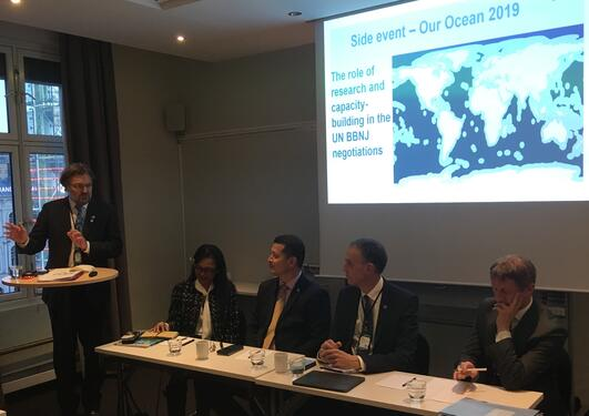 Professor Edvard Hviding moderated panel of Ngedikes Olai Uludong from Palau at UN, CEO Yimnang Golbuu from Palau International Coral Reef Centre, former IOC chair Peter M. Haugan and Kjell Kristian Egge from Norway MFA at Our Ocean 23 October 2019