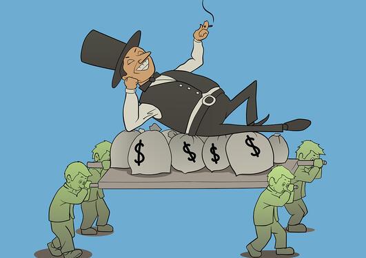 Tegning av mann med flosshatt og sigar som ligger oppe noen pengesekker som bæres av fire arbeidere