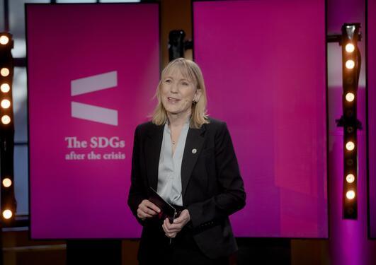 Rector Margareth Hagen from the University of Bergen opens the 2021 SDG Conference Bergen.