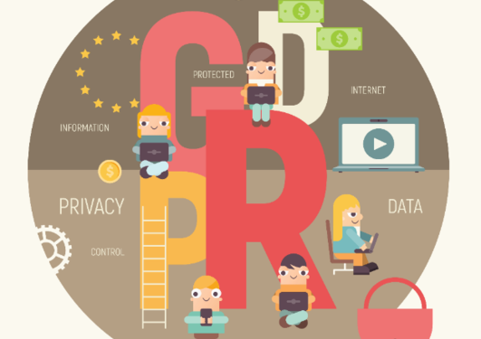 illustration GDPR people on electronic devices