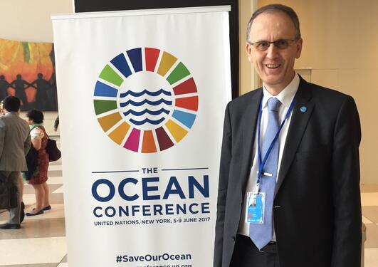 Professor Peter M. Haugan from the University of Bergen at the UN Ocean Conference in New York in June 2017.