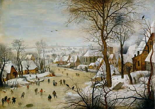 paining winter landscape with bird trap_Pieter_brueghel