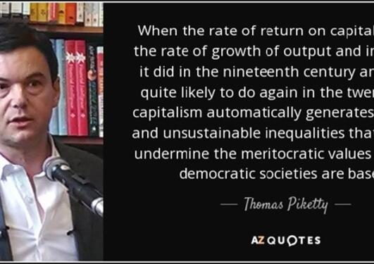 Bilde og sitat av Piketty angående forholdet mellom avkastning på kapital og vekst i utbytte og lønn.
