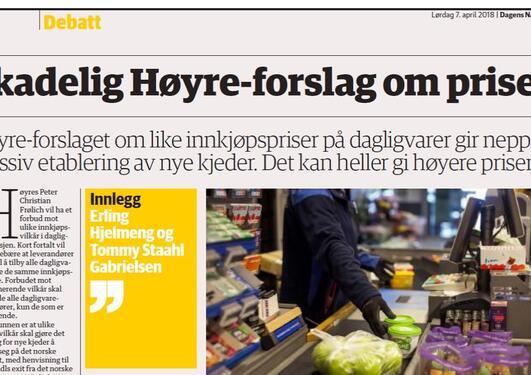 Faksimilie fra Dagens Næringsliv 7. april.