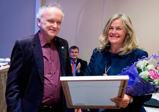John Normann Melheim, leiar av LHL, og Cecilie Svanes, vinnar av kolsprisen 2014.