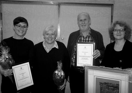 Vinnerne av Undervisningsprisen og Studiekvalitetsprisen 2016. Fv: Hege Høivik Bye, Marguerite Daniel, Maurice Mittelmark og Haldis Haukanes.