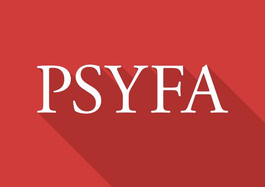 Fakultetslogo for Psykologisk fakultet. Det står PSYFA i hvit skrift på rød bakgrunn.