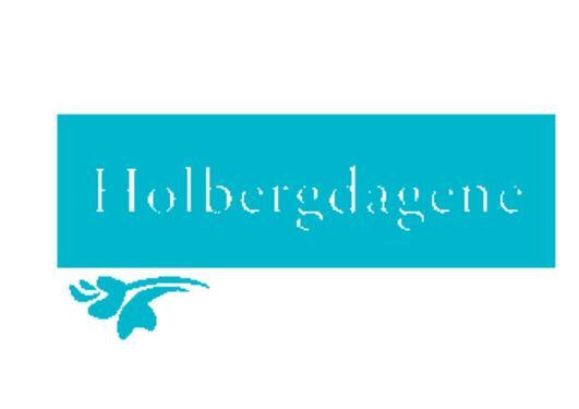 LOGO FOR HOLBERGDAGENE, MED TEKSTEN HOLBERGDAGENE MED HVIT SKRIFT MOT BLÅ BAKGRUNN