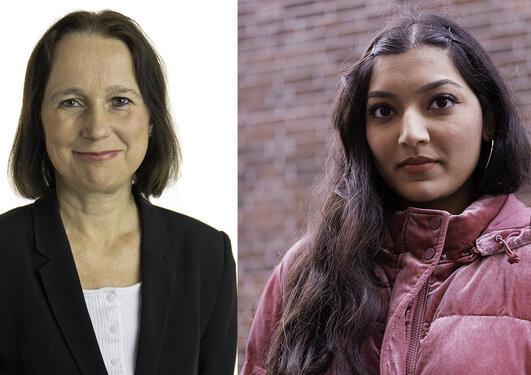 Ragna Aarli og Sarah Zahid fra juss ved UiB