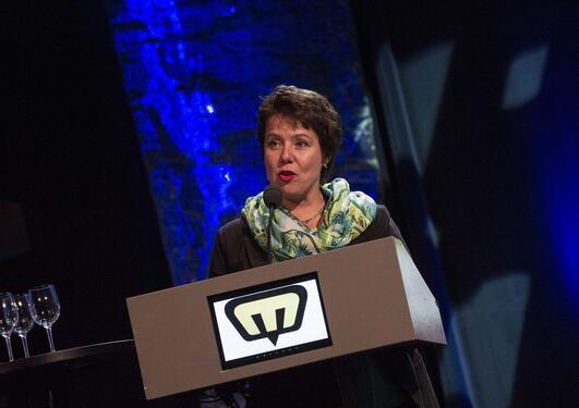 Ragnhild Stolt-Nielsen på scenen under Mediedagene