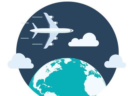 illustrasjon med et fly som flyr over en jordklode