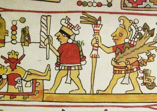 Teppe med gamle teikningar av menneskeofringar frå Sentral-Amerika på