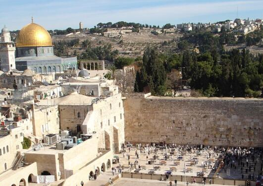 The Dome of the Rock and the Western Wall in Jerusalem