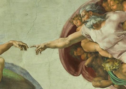 Skapinga av Adam der Gud med englar i ryggen tar på fingeren til Adam.