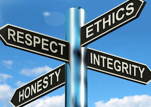 Skilt som peker i hver sin retning med tekstene respect, ethhics, honesty og integrity