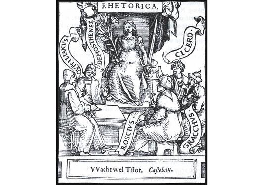 Rhetorica presiderer over store fortattere med sin linje (veltalenhetens blomst) og sitt sverd.