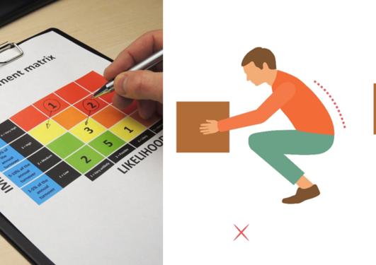 To bilder sammen: Risikovurderingsskjema til venstre og to bilder av en mannlig figur som løfter en eske med henholdsvis bøyd  og rett rygg. n eske