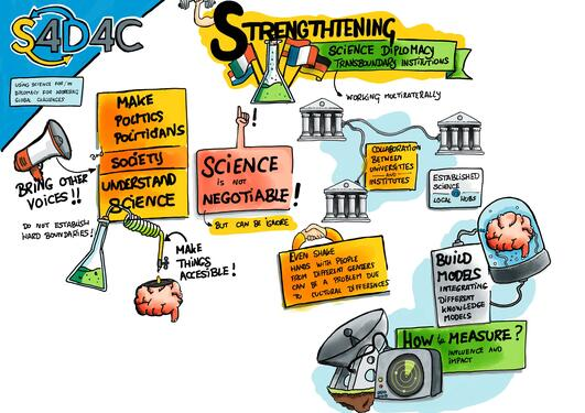 The S4D4C plenary on Strengthening Science Diplomacy Transboundary Institutions on Thursday 18 March2021 brilliantly summed up  in this illustration.