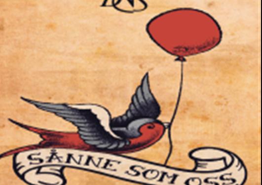 "En fugl med en ballong i nebbet lander på en banner der det står ""SÅnne som oss"""