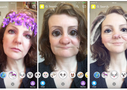 A series of selfies with selfie filters applied.