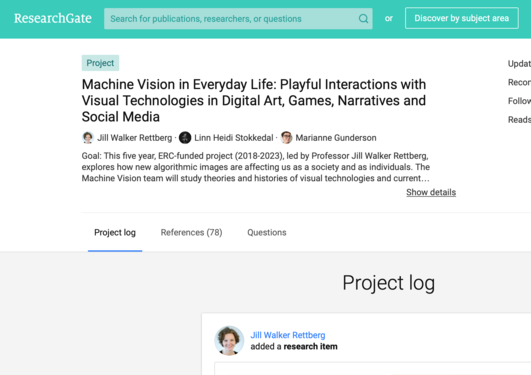 Screenshot of ResearchGate project page
