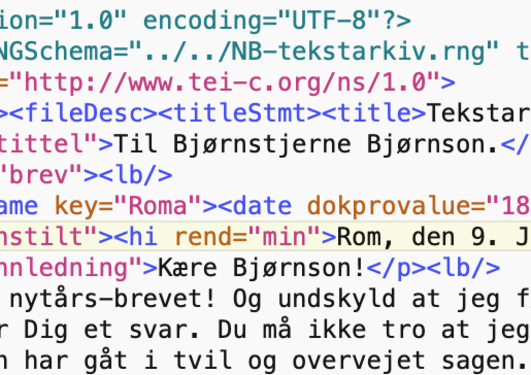 Screenshot of letter by Henrik Ibsen with XML metadata