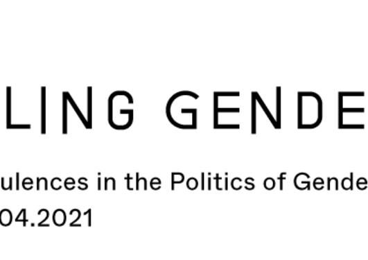 Figurer i rosa, teksten Troubling Gender - New Turbulences in the Politics of  Gender in Europe - 08.-10.04.2021