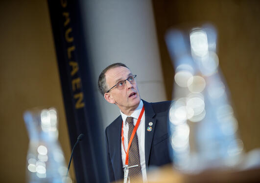 Professor Peter M. Haugan at the SDG Conference Bergen in February 2018, chairing a special event on SDG14.