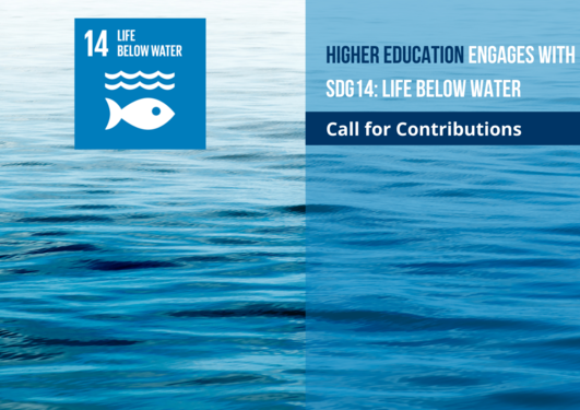 Logo for SDG14, Life below water as part of a call for papers to a publication on ocean science and education by the International Association of Universities and the University of Bergen.