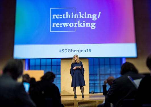 Vice-Rector for Global Relations Annelin Eriksen speaks at the second National SDG Conference at the  University of Bergen on 8 February 2019.