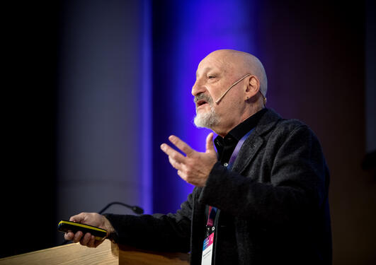 Professor Silvio Funtowicz discussing scientific advice and the societal impact of research on 8 February 2019 at the second SDG Conference Bergen.
