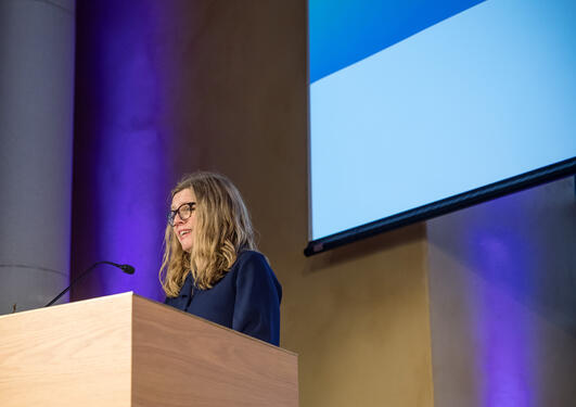 Vice-Rector for Global Relations Annelin Eriksen from the University of Bergen at the national SDG Conference Bergen in February 2019.