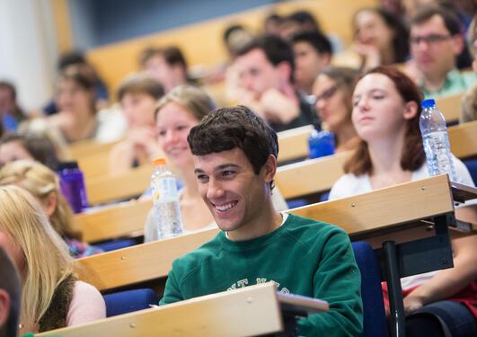 International students at University of Bergen for semester start August 2013.