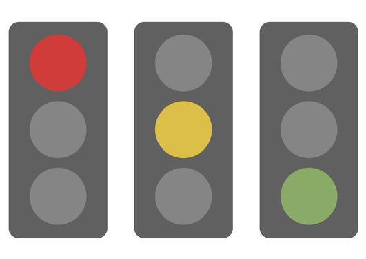 Traffiklys i rødt, gult og grønt