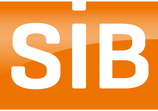 SiB logo in white and orange