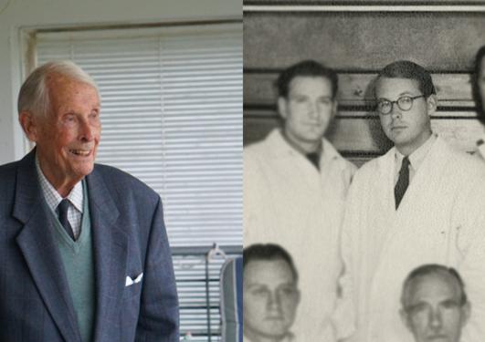 Kjell Skarsten ute på terassen sin i 2021 til venstre. Klassebilde av Kjell Skarsten fra 1946 til høyre.