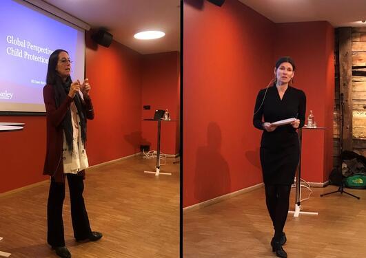 Jill Berrick og Marit Skivenes presenterer sin forskning på Litteraturhuset.