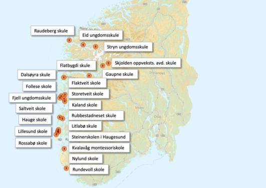 Kart over skolene på Vestlandet