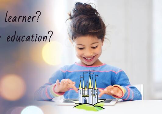 Illustrasjonsbilde av jente og tekst som spør: hva vekker kreativiteten hos en som lærer? Hvordan kan big data forme utdanning? Hvordan lærer vi?
